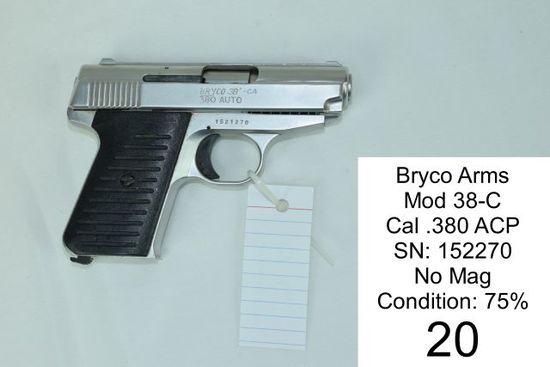 Bryco Arms    Mod 38-C    Cal .380 ACP    SN: 152270    No Mag    Condition: 75%