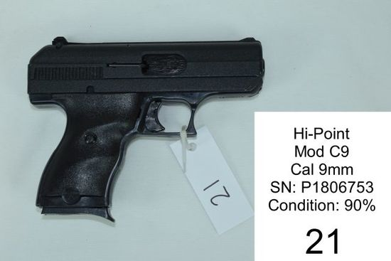 Hi-Point    Mod C9    Cal 9mm    SN: P1806753    Condition: 90%