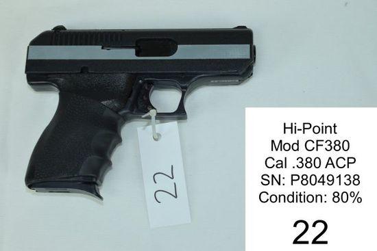 Hi-Point    Mod CF380    Cal .380 ACP    SN: P8049138    Condition: 80%