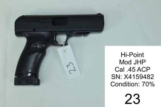 Hi-Point    Mod JHP    Cal .45 ACP    SN: X4159482    Condition: 70%