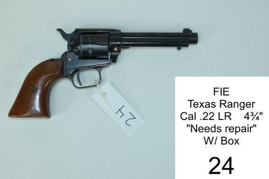 """FIE    Texas Ranger    Cal .22 LR    4¾""""    """"Needs repair""""    W/ Box"""