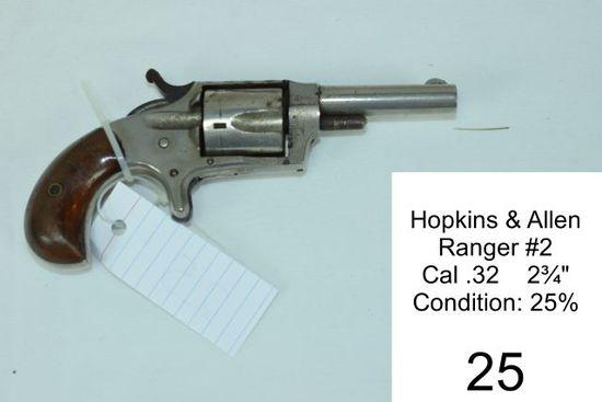 """Hopkins & Allen    Ranger #2    Cal .32    2¾""""    Condition: 25%"""