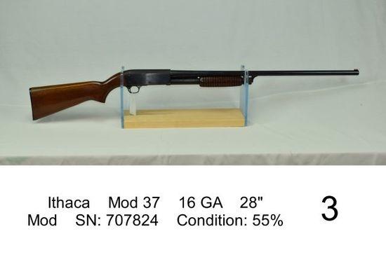 """Ithaca    Mod 37    16 GA    28""""    Mod    SN: 707824    Condition: 55%"""