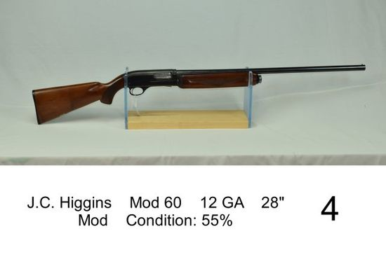 "J.C. Higgins    Mod 60    12 GA    28""    Mod    Condition: 55%"