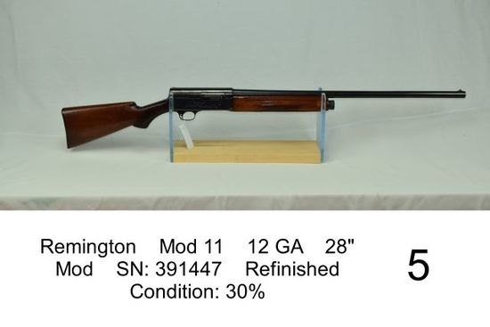 "Remington    Mod 11    12 GA    28""    Mod    SN: 391447    Refinished    Condition: 30%"