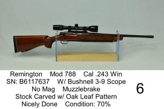 Remington    Mod 788    Cal .243 Win    SN: B6117637    W/ Bushnell 3-9 Scope    No Mag    Muzzlebra