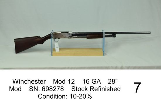 "Winchester    Mod 12    16 GA    28""    Mod    SN: 698278    Stock Refinished    Condition: 10-20%"