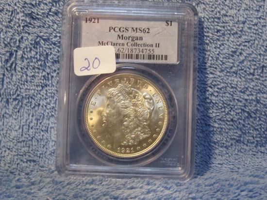 1921 MORGAN DOLLAR PCGS MS62 MCCLAREN COLL. II