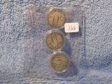 1927P,D,S, STANDING LIBERTY QUARTERS (3-COINS) VG+