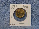 1882 $5. LIBERTY HEAD GOLD PIECE UNC