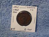 1855 SLANTED 5'S LARGE CENT XF
