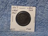 1857 LARGE DATE LARGE CENT VG+
