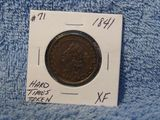 1841 HARD TIMES TOKEN / NOT ONE CENT XF+
