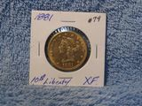 1881 $10. LIBERTY GOLD XF