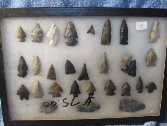 """FRAME OF 29 OHIO NATIVE AMERICAN ARTIFACTS LARGEST IS 2"""""""