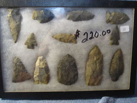 """FRAME OF 12 OHIO NATIVE AMERICAN ARTIFACTS LARGEST IS 3 1/2"""""""