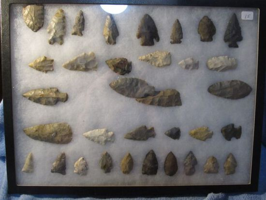 """FRAME OF 34 NATIVE AMERICAN ARTIFACTS LARGEST IS 3 1/4"""""""