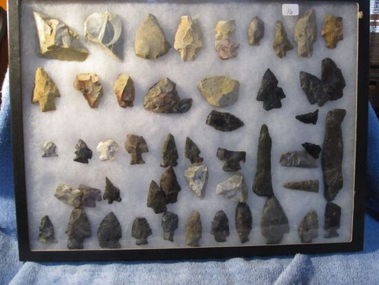 """FRAME OF 50 NATIVE AMERICAN ARTIFACTS LARGEST IS 4 3/8"""""""