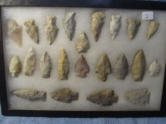 """FRAME OF 22 OHIO NATIVE AMERICAN ARTIFACTS LARGEST IS 2 1/2"""""""