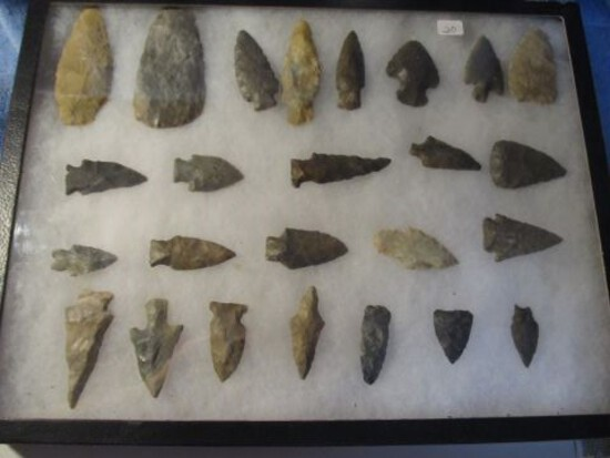 """FRAME OF 25 OHIO NATIVE AMERICAN ARTIFACTS LARGEST IS 4"""""""