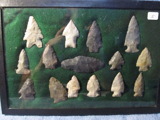 """FRAME OF 15 OHIO NATIVE AMERICAN ARTIFACTS LARGEST IS 3"""""""