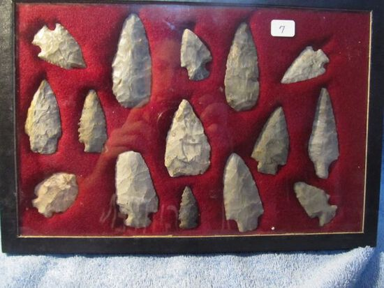 """FRAME OF 15 OHIO NATIVE AMERICAN ARTIFACTS LARGEST IS 2 7/8"""""""