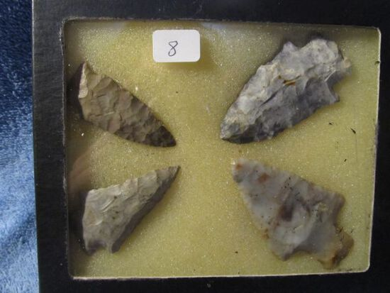 """FRAME OF 4 OHIO NATIVE AMERICAN ARTIFACTS LARGEST IS 2 1/2"""""""