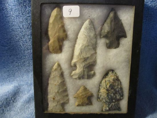 """FRAME OF 6 OHIO NATIVE AMERICAN ARTIFACTS LARGEST IS 2 3/4"""""""