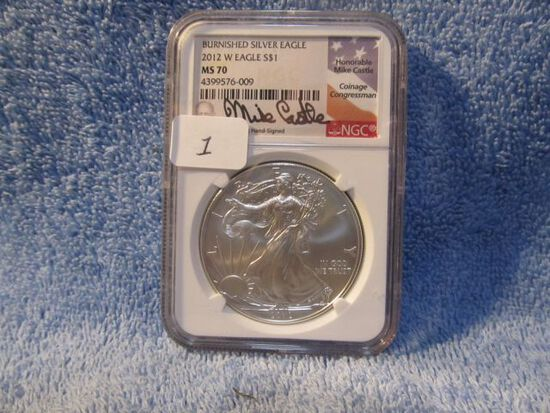 2012W SILVER EAGLE NGC MS70 BURNISHED MIKE CASTLE SIGNATURE