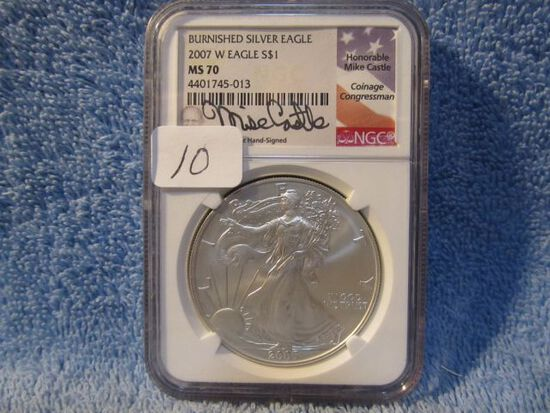 2007W SILVER EAGLE NGC MS70 BURNISHED MIKE CASTLE SIGNATURE