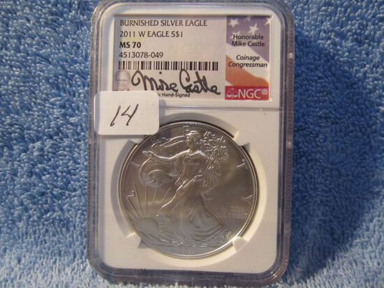 2011W SILVER EAGLE NGC MS70 BURNISHED MIKE CASTLE SIGNATURE