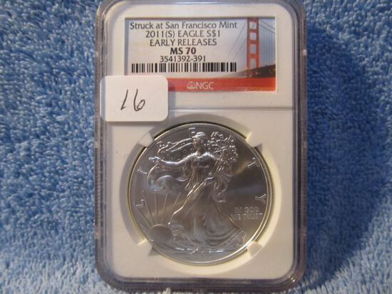 2011(S) SILVER EAGLE NGC MS70 EARLY RELEASES