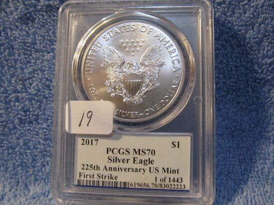 2017 SILVER EAGLE PCGS MS70 FIRST DAY OF ISSUE EDMUND C. MOY SIGNATURE
