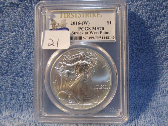 2016(W) SILVER EAGLE PCGS MS70 FIRST STRIKE