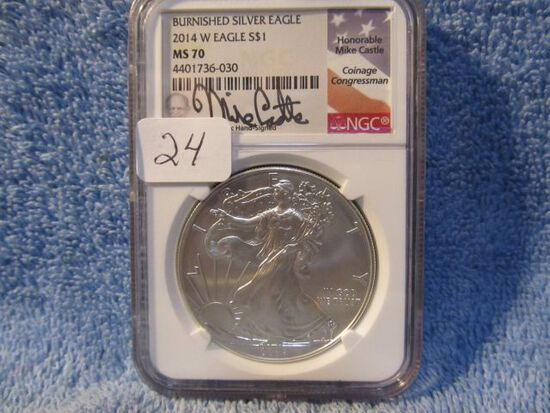 2014W SILVER EAGLE NGC MS70 BURNISHED MIKE CASTLE SIGNATURE