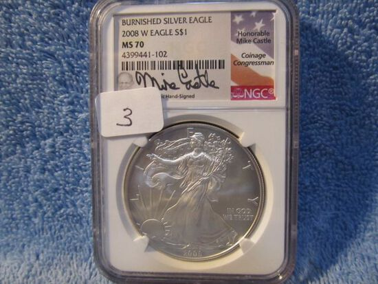 2008W SILVER EAGLE NGC MS70 BURNISHED MIKE CASTLE SIGNATURE