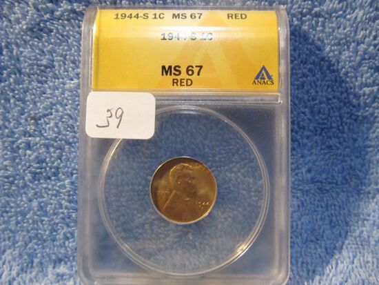 1944S LINCOLN CENT ANACS MS67 RED GREYSHEET LIST $65.
