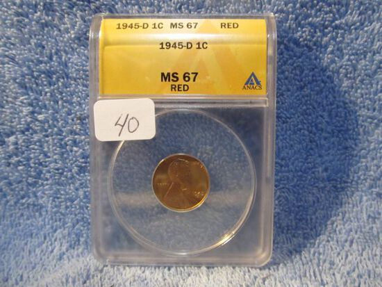1945D LINCOLN CENT ANACS MS67 RED GREYSHEET LIST $100.