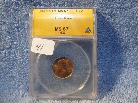 1945S LINCOLN CENT ANACS MS67 RED GREYSHEET LIST $65.