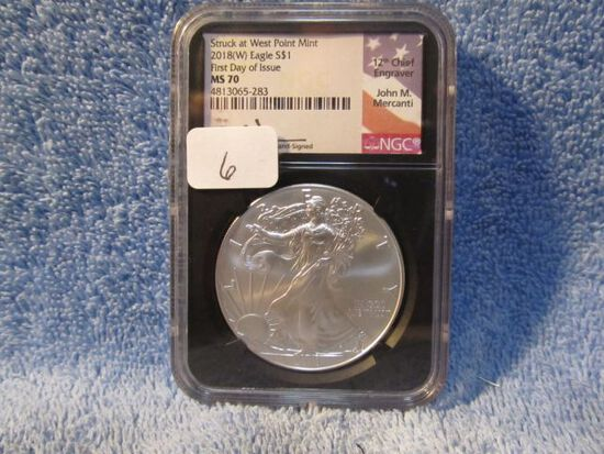 2008(W) SILVER EAGLE NGC MS70 FIRST DAY OF ISSUE JOHN MERCANTI SIGNATURE