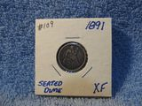 1891 SEATED DIME XF