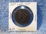 1837 LARGE CENT XF+