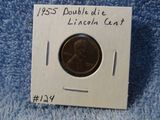1955D DOUBLE DIE LINCOLN CENT XF+