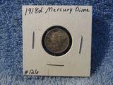 1918D MERCURY DIME XF