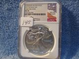 2017W SILVER EAGLE NGC MS70 BURNISHED EARLY RELEASES JOHN MERCANTI SIGNATUR