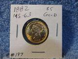 1882 $5. LIBERTY HEAD GOLD PIECE BU