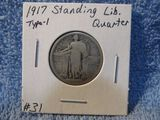 1917 TYPE-1 STANDING LIBERTY QUARTER VG