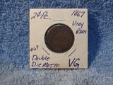 1867 2-CENT PC. DOUBLE MOTTO OBVERSE VERY RARE VG