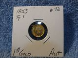 1853 TYPE-1 $1. GOLD AU+