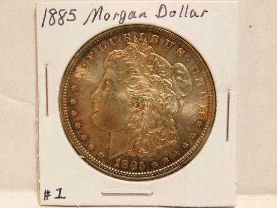 1885 MORGAN DOLLAR (OBV. TONING) BU
